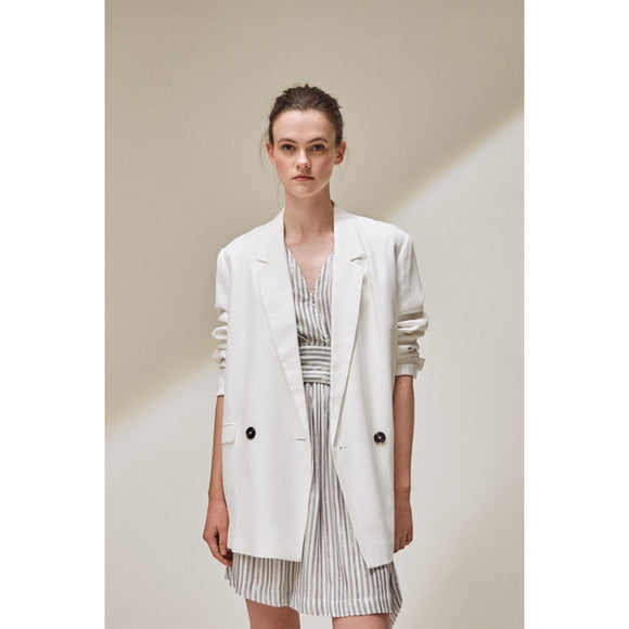 Suncoo Donna Oversized White Blazer Jacket