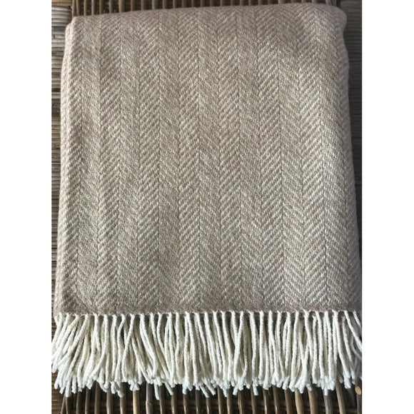 Beige and Off White Merino Wool and Cashmere Throw