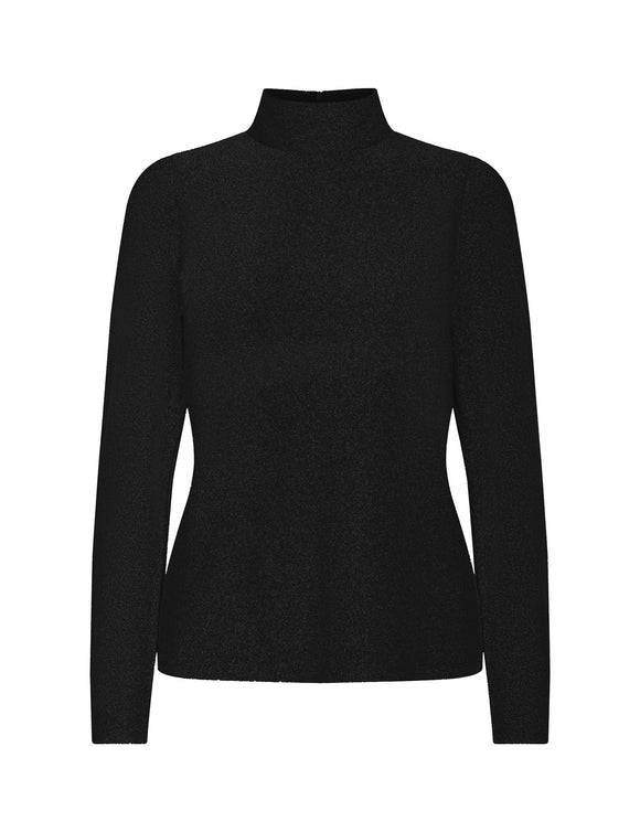 Levete - Kammie Long Sleeve Black Sparkle Top
