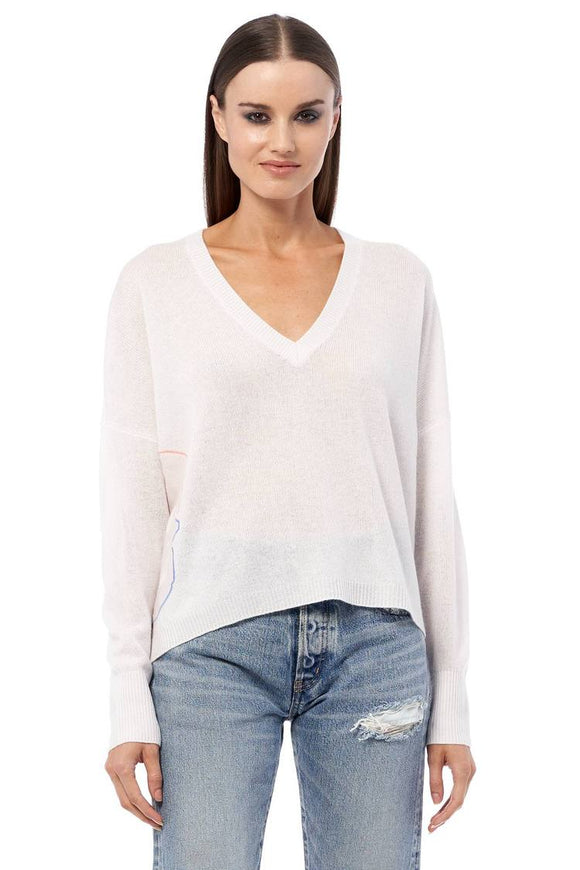 360 Cashmere - Alloy V-Neck Cashmere Sweater in Alabaster Multi