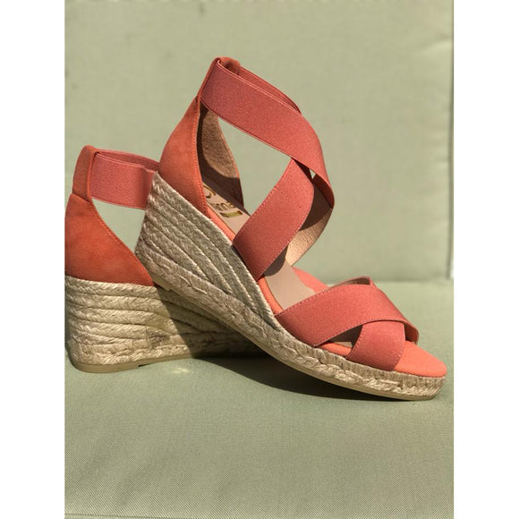 Kanna Combi Ante Carmin Coral Wedge Sandals