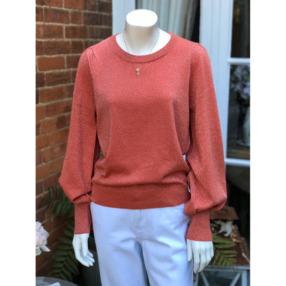 Second Female Lea Knit Metallic Jumper in Apricot