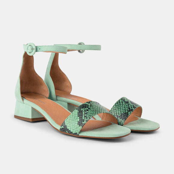 Shoe The Bear Cala Wave Snake Print Sandals in Mint
