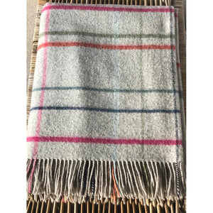 100% Merino Lambswool Beige, Pink, Green & Grey Throw