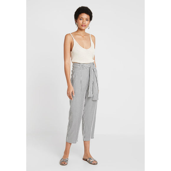 Just Female Cropped Stripe Beach Trousers