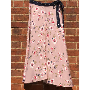 Velvet Olive Skirt in Pink with Floral Print