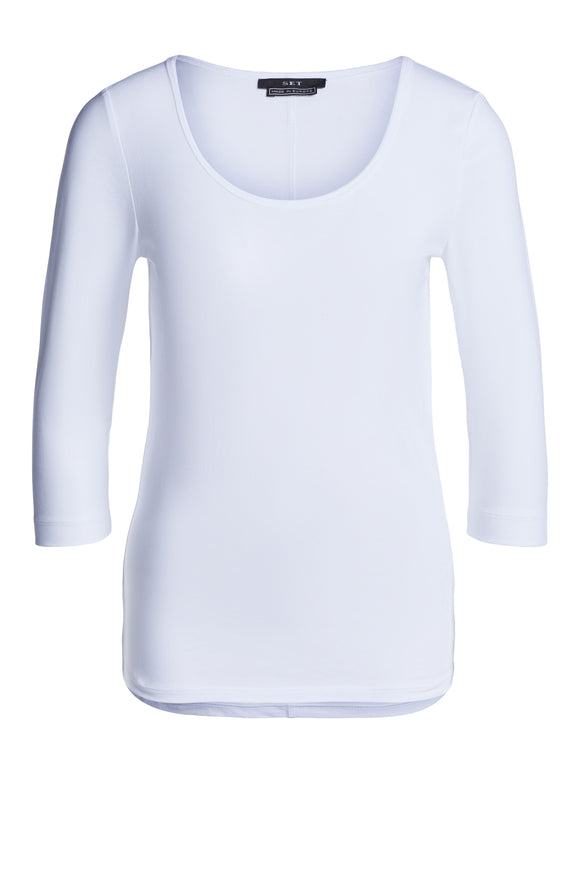 Set Fashion - White Round Neck Top