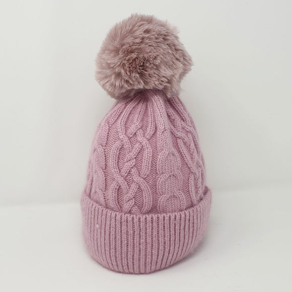 Tilley & Grace - Bella Faux Fur Bobble Hat - Dusty Pink