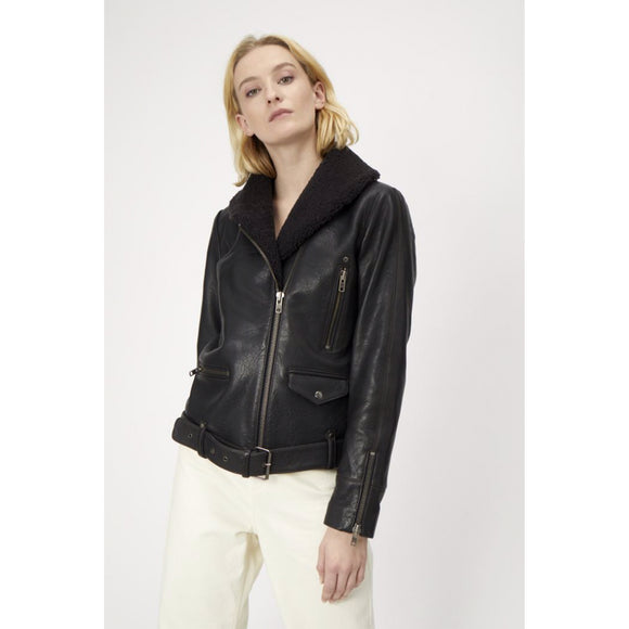 Just Female Billy Black Leather Aviator Jacket