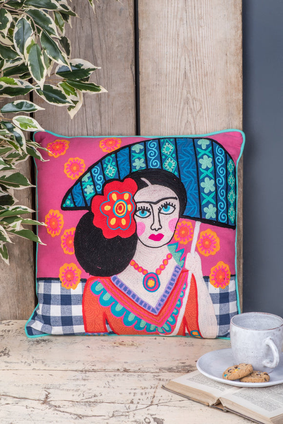 Frida Kahlo Pink Umberella Embroidered Cushion Cover & Pad