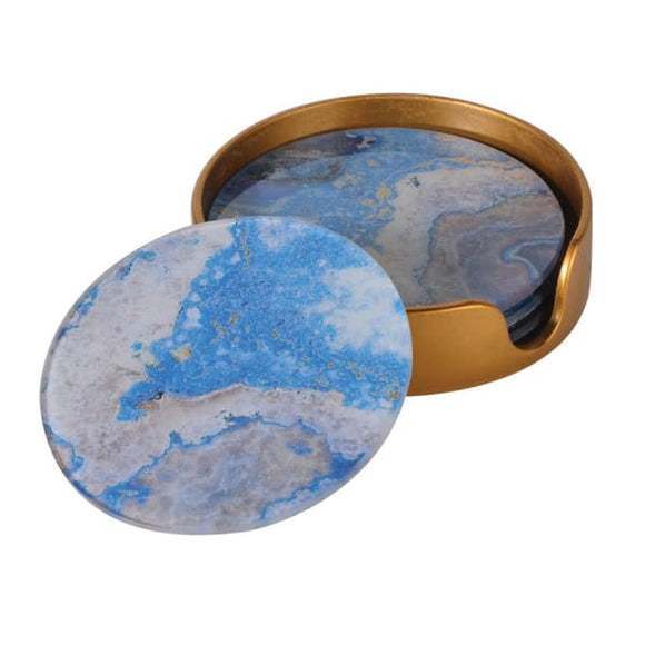 Coach House - Set of 4 Blue Marble Effect Coasters