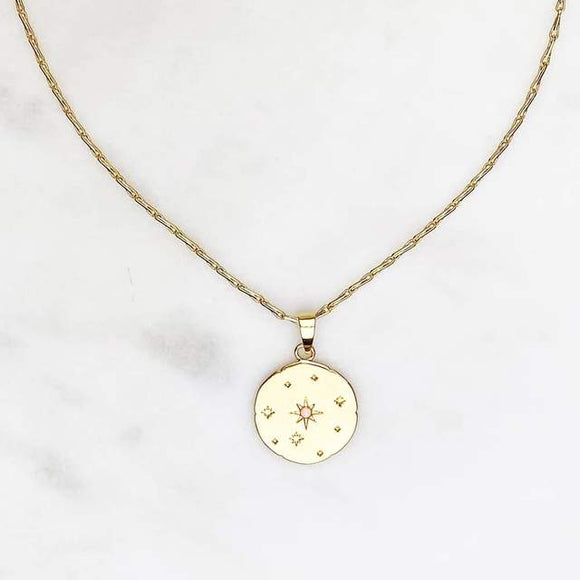 ByNouck - Fine Chain Galaxy Coin Necklace Gold