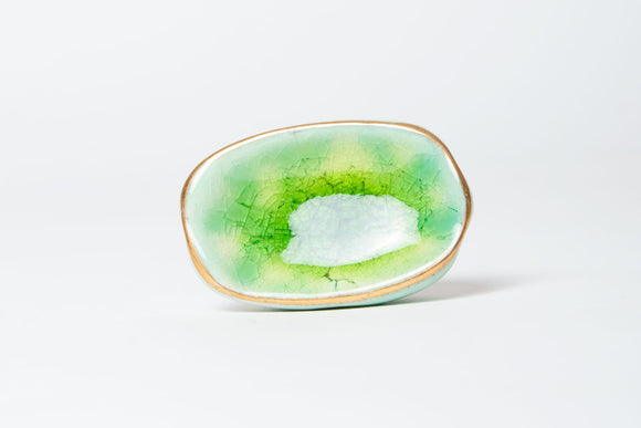 Ian Snow - Oval Green And Turquoise Ceramic Knob