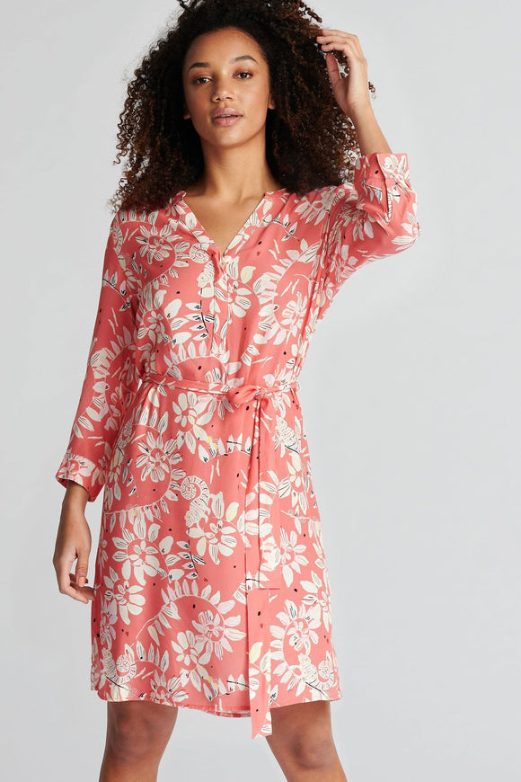 Pom Amsterdam - Bouncing Coral Leaves Dress