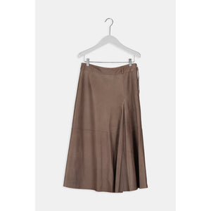 Humanoid Patricia Leather Midi Taupe Skirt