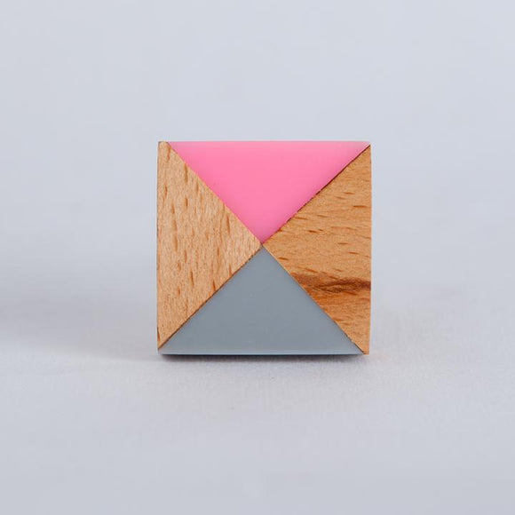Bombay Duck - Colour Block Knob Square Wood/Grey/Pink Resin