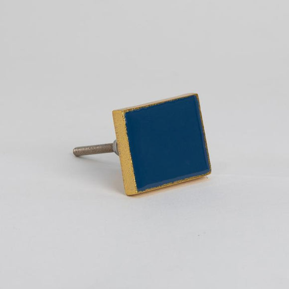 Bombay Duck - Bertie Enamel Rectangle Knob Gold/Petrol Blue