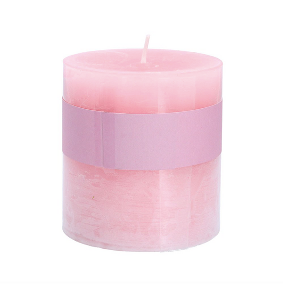 Gisela Graham - Pillar Candle 10cm Pink/Rose