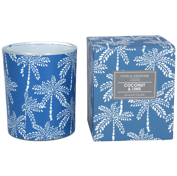 Gisela Graham - Boxed Scented Candle Blue/White Plam Tree