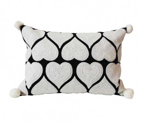 Bombay Duck London - HEARTS Pom Pom Cushion