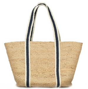 The Braided Rug Company - 100% Organic Summer White/Navy Raw Jute Tote