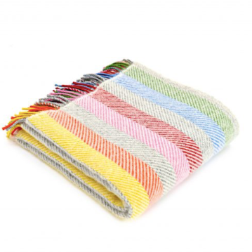 Tweedmill - Pure New Wool Stripe Rainbow Grey Throw