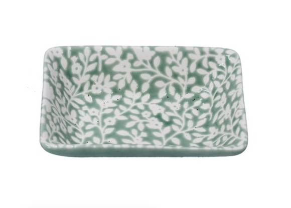 Gisela Graham - Green Floral Vines Ceramic Mini Trinket Dish