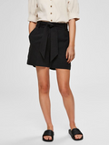 Selected Femme Black Waist Tie Shorts