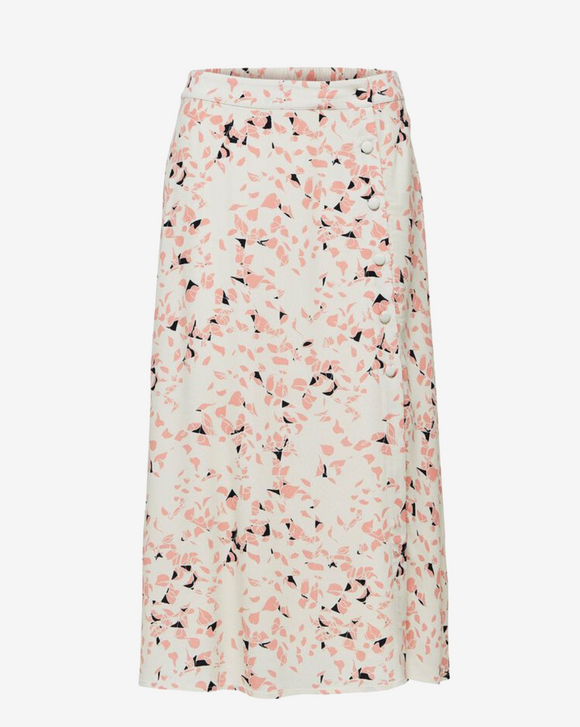 Selected Femme Burnt Coral Printed Midi Skirt