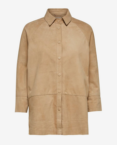 Selected Femme Curds & Whey Suede Shirt
