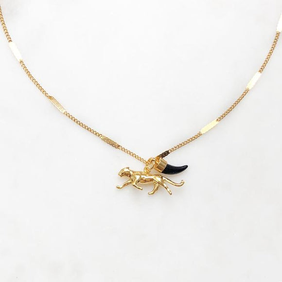 ByNouck - Leopard and Tooth Necklace Gold