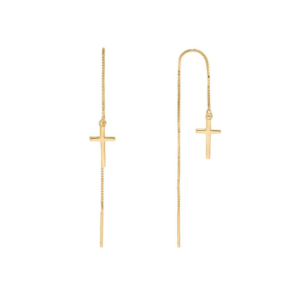 Sui Ava - Alberte Long Cross Earrings Gold
