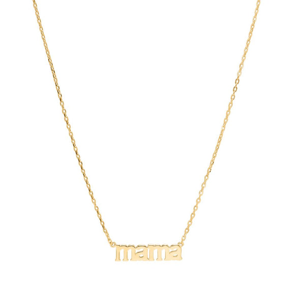 Sui Ava - Mama Text Necklace in Gold