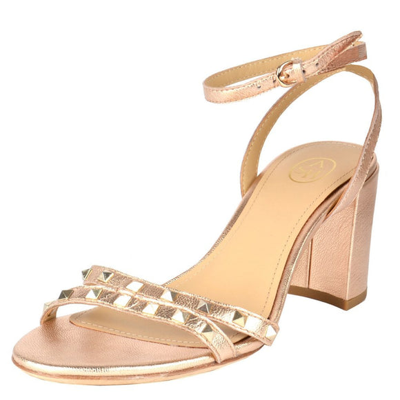 Ash Janis Rose Gold Block Heeled Sandals