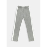 Essentiel Antwerp Light Grey Wool Blend Trousers with Contrasting Stripe