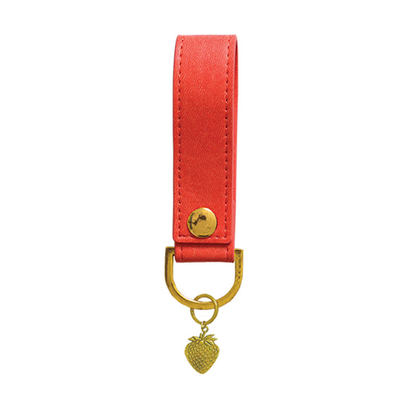 Sky & Miller Strawberry Gold and Red Keyring