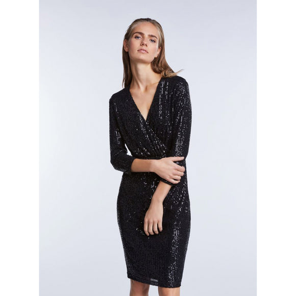 Set Fashion Black Sequin V Neck Wrap Dress
