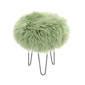 Holly Sheepskin Baa Stool in Sage and Industrial Steel