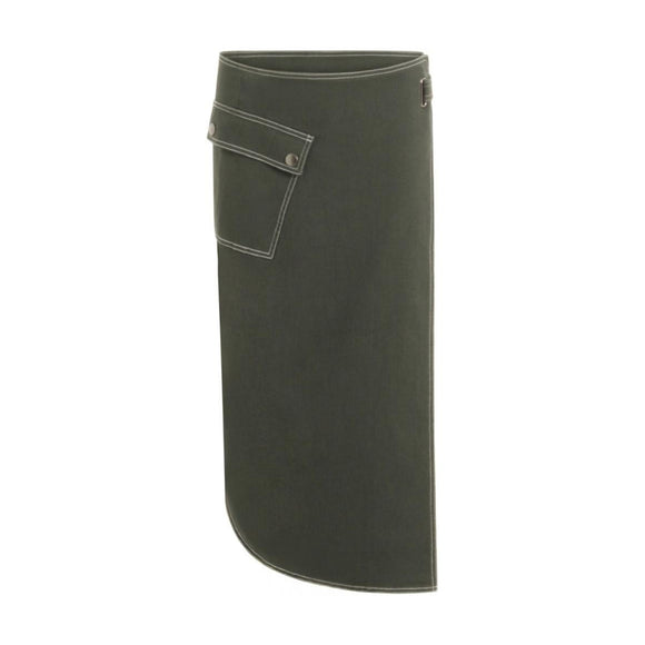 Coster Copenhagen Green Wrap Around Skirt with patch pocket and visible stitch detail
