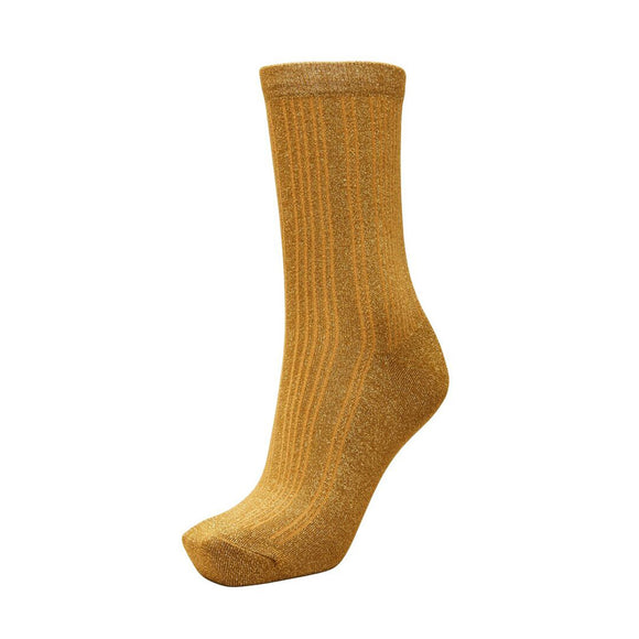 Selected Femme Bronze Ribbed Glitter Socks