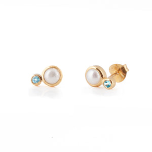 Rodgers & Rodgers Gold Pearl and Gemstone Stud Earrings