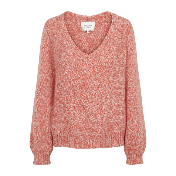 Second Female West Knit V-Neck Jumper in Coral