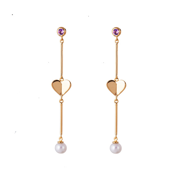 Rodgers & Rodgers Gold Origami Heart and Gemstone Bar Earrings