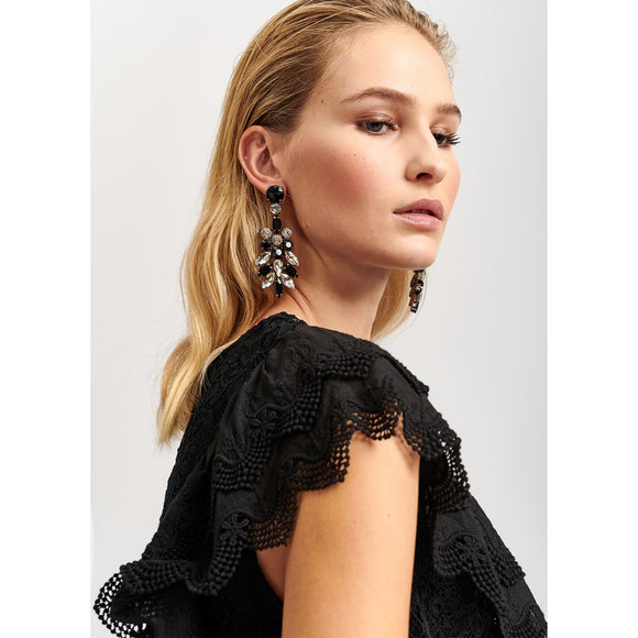 Essentiel Antwerp Black Rhinestone Encrusted Earrings