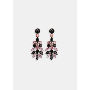Essentiel Antwerp Black and Pink Rhinestone Encrusted Earrings