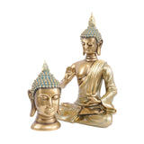Libra Buddha Head Sculpture in Gold