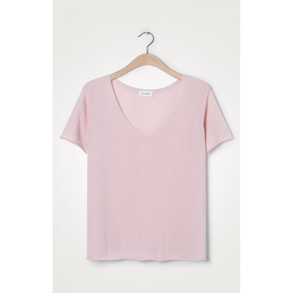 American Vintage V-Neck Cashmere Knit Light Pink Top