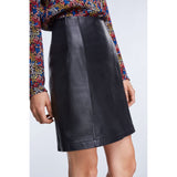 Set Fashion Black Leather Mini Skirt