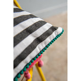 Zivan Black & White Stripe Embroidered Cotton Cushion Pad Incl