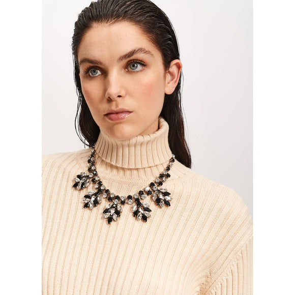 Essentiel Antwerp Black Rhinestone Encrusted Necklace